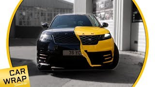 Black Urban Range Rover Velar wrapped Gloss Dark Yellow