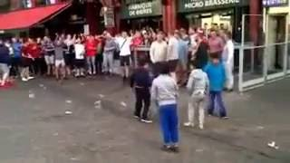 Euro 2016: English football fans mock Syrian Refugee children in Lille, France