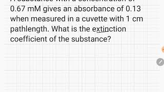 Calculating the extinction coefficient