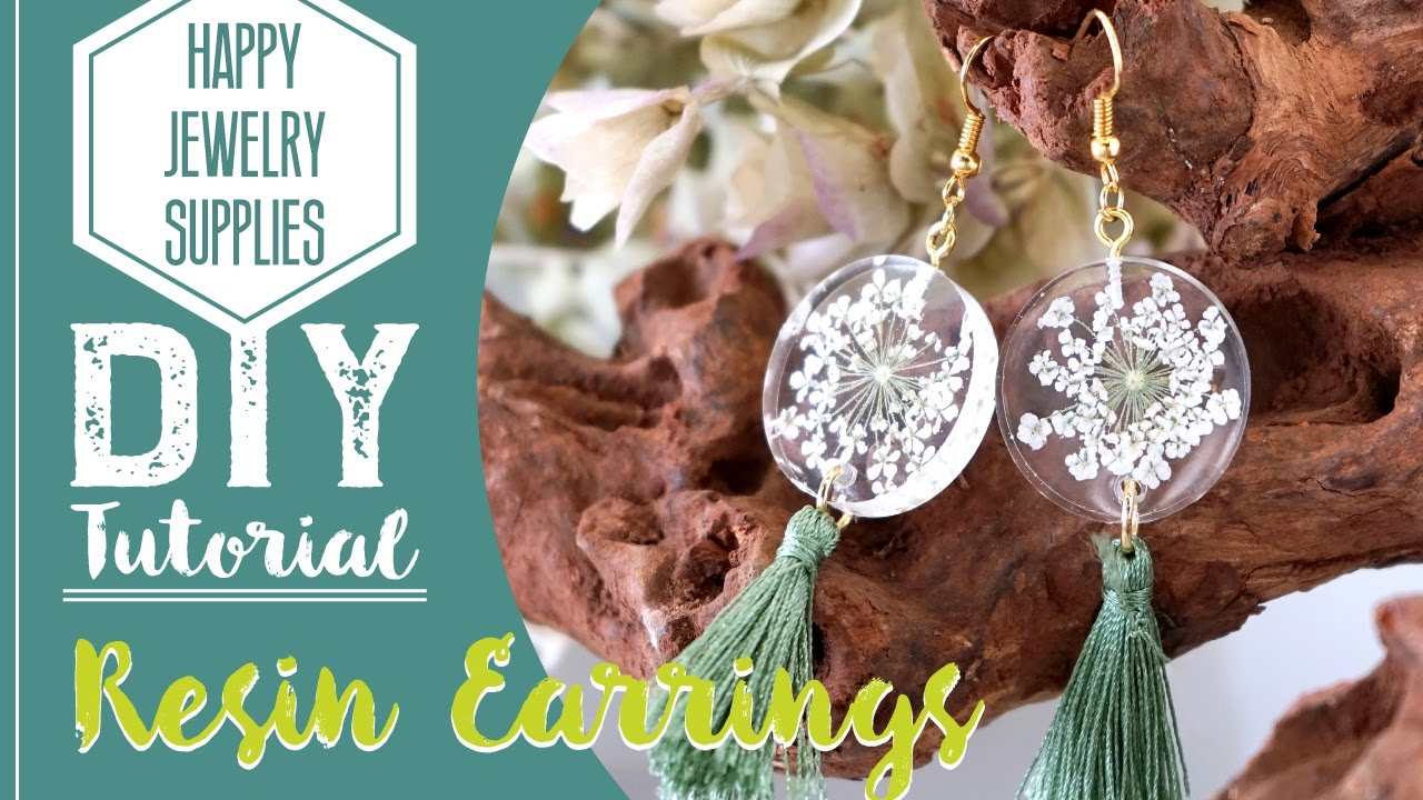 7e990c24a DIY Tutorial-How to make a resin dry flower earrings with tassel ...