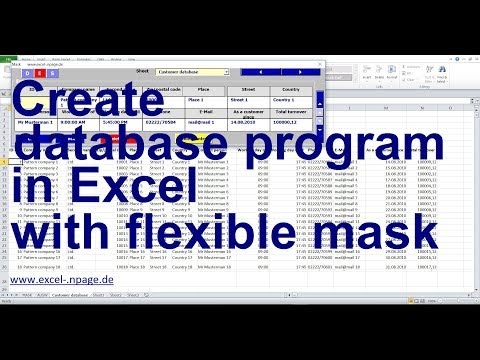 0 Create database program in Excel with flexible mask