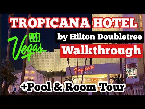 LAS VEGAS TROPICANA HOTEL WALKTHROUGH + POOL & ROOM TOUR  | by Hilton Doubletree