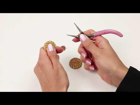 Bijoux à faire soi-même : Boucles d'oreilles avec pendentifs en rotin et Acier Polaris (Inox) ♡ DIY