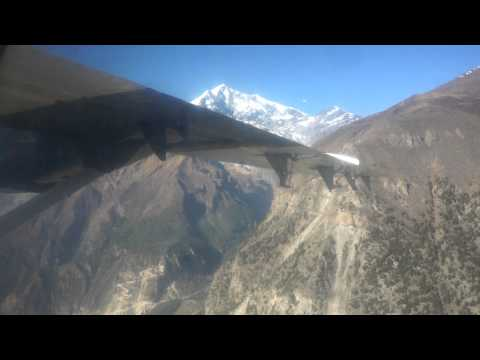 Flying over Annapurna Range with Twin Otter, Tara Airlines.Jomsom, Nepal