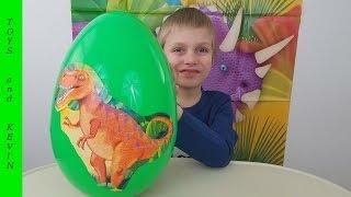 Большое яйцо с сюрпризом ДИНОЗАВРЫ Видео для детей про динозавры игрушки Киндер сюрпризы