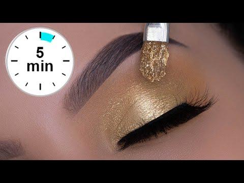 5 MINUTE Classic Golden Eye Makeup Tutorial   Christmas Glam