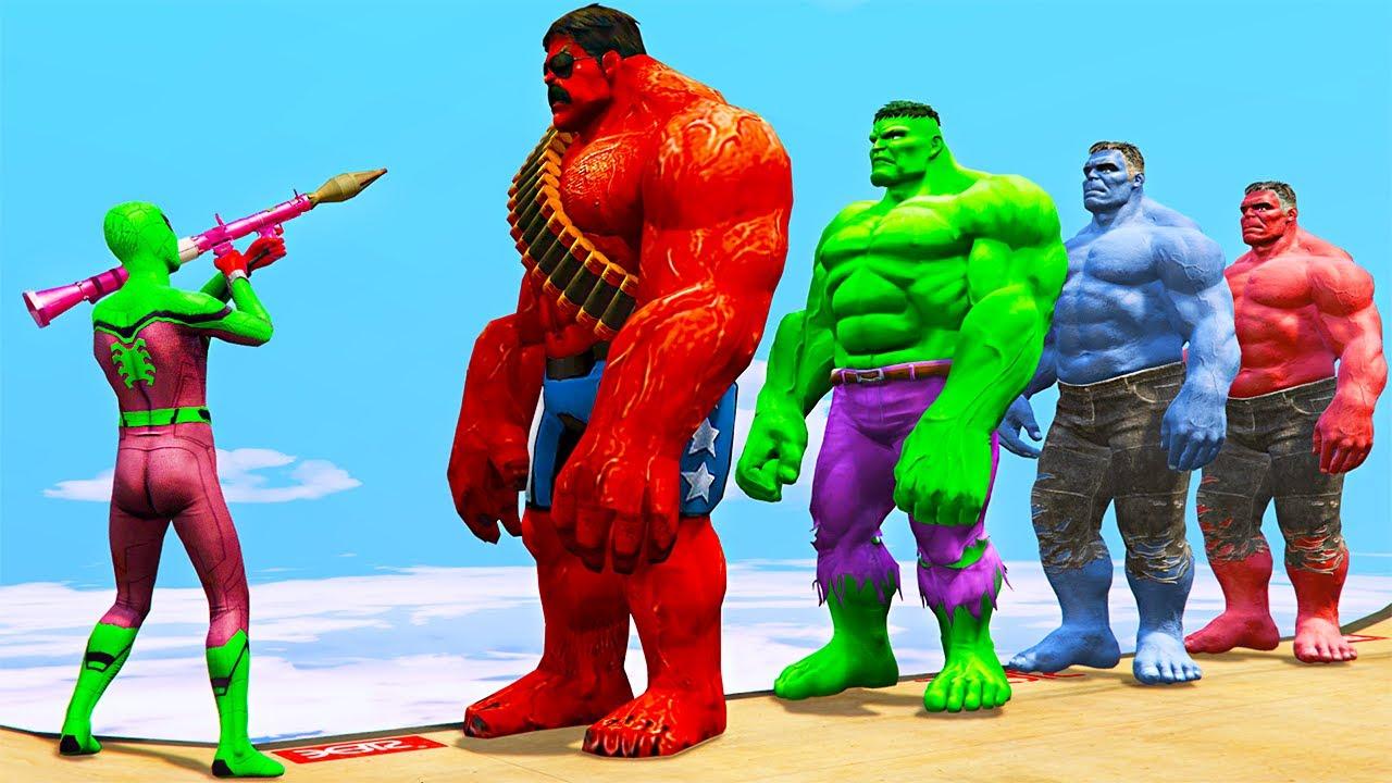GTA 5 Water Ragdolls Red Spiderman VS Red Hulk VS Green ...