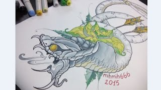 finecolour Рисунок Кобра, Маркеры, как я рисовал тату эскиз, sketch markers как copic