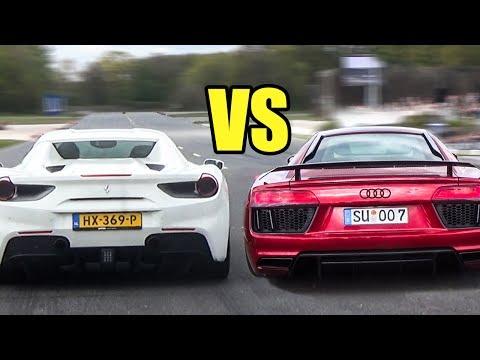 Ferrari 488 Spider vs Audi R8 V10 PLUS - DRAG RACE!