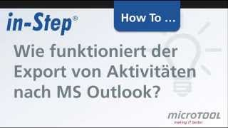 Wie funktioniert der Export von Aktivitäten nach MS Outlook?