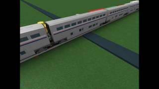 ROBLOX The Wiggles Big Red Car got hit by an Amtrak Train.