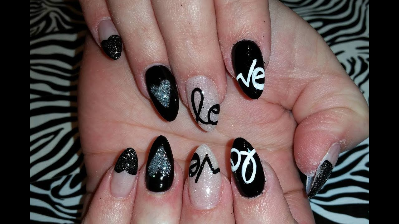 Acrylic Nails l Nude & Black Love l Nail Design - YouTube
