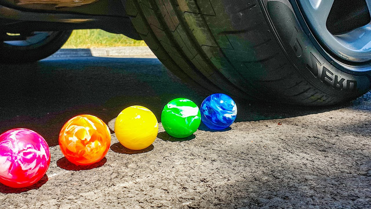 Crushing Colorful Cristal Balls with Car wheel. ASMR