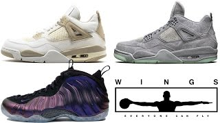 Air Jordan 1 WINGS, Jordan 4 Linen, KAWS Release Date, Foamposite One Eggplant and More