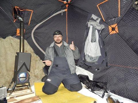 Рыбалка.Налим на стук и печь для палатки в -41