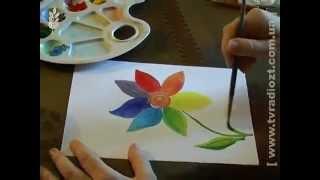 Як малювати квітку-веселку. Урок 1