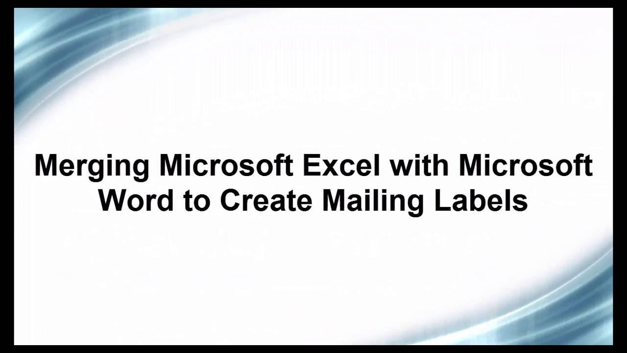 mailing labels from excel