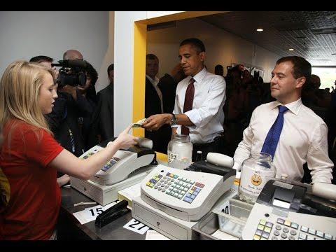 Поведение Медведева и Обамы в забегаловке. Анализ языка тела