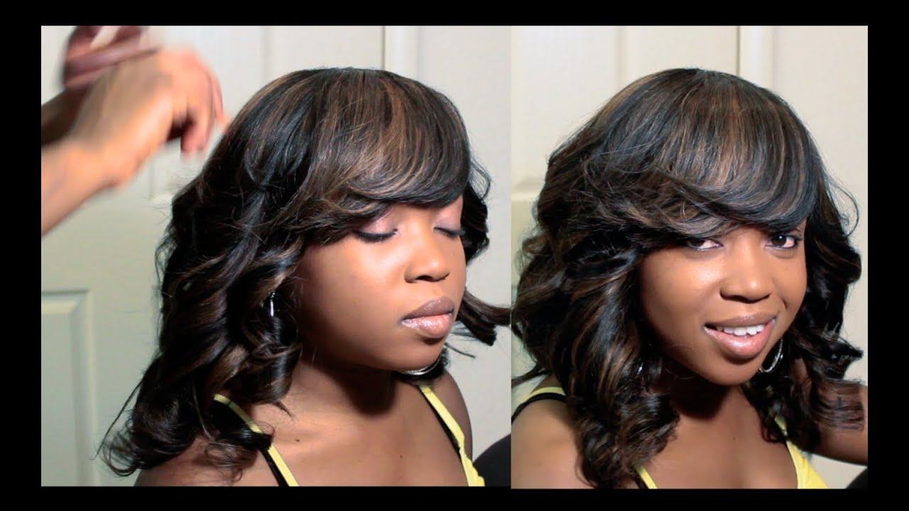 How I Did My Sister's Full Sew In With Deep Side Bang