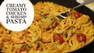 Creamy Tomato Chicken and Shrimp Pasta Recipe | Food&Co with Ivonne Ajayi