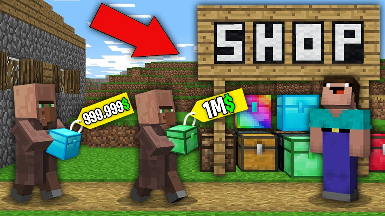 Minecraft NOOB vs PRO: WHY NOOB BOUGHT ALL EXPENSIVE CHEST THIS VILLAGER? 100% trolling