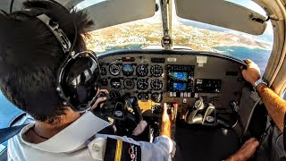 Piper 28 Warrior III | Approach, Touch & Go, Landing into Syros, Greece - GoPro Cockpit - ATC Audio
