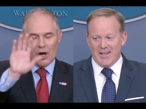 Reporters GRILL Scott Pruitt & Sean Spicer on Climate Change, Trump, and the Paris Accord