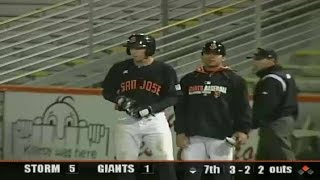 Austin Slater singles up the middle for the Giants