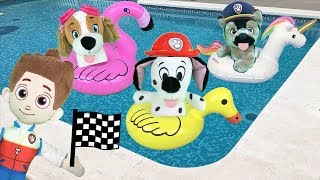 Paw patrol bebes en español: carreras de juguetes en la piscina con tiburon.Videos patrulla canina
