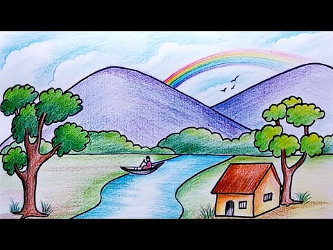How to draw Simple Scenery for Kids | Drawing for Beginners | Village Scenery Drawing