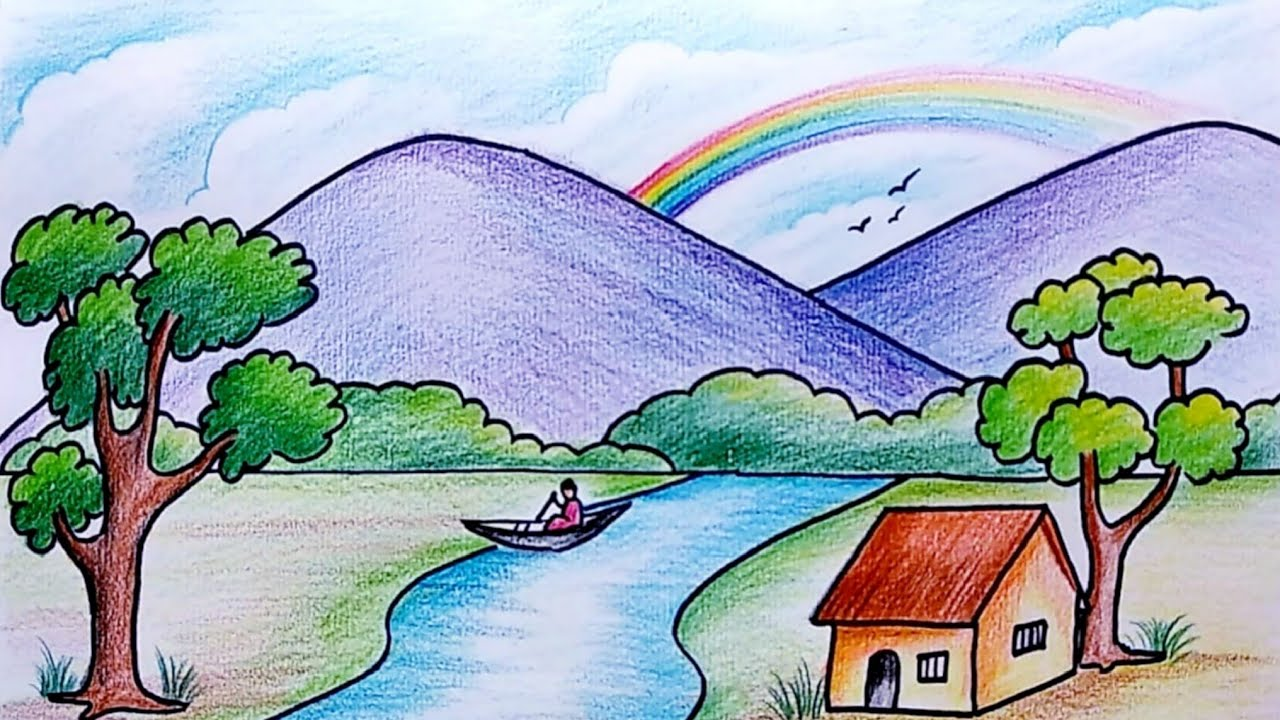How to draw simple scenery for kids drawing for beginners village scenery drawing