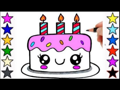 How To Draw Cute Birthday Cake Birthday Cake Drawing For Kids Cake Youtube