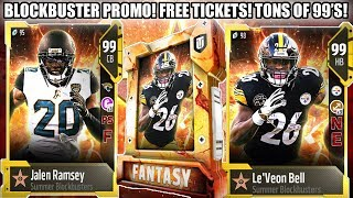 BLOCKBUSTER PROMO! TONS OF 99'S, SOLOS, FREE MOVIE TICKETS! +2 SPEED COACH! | MADDEN 18