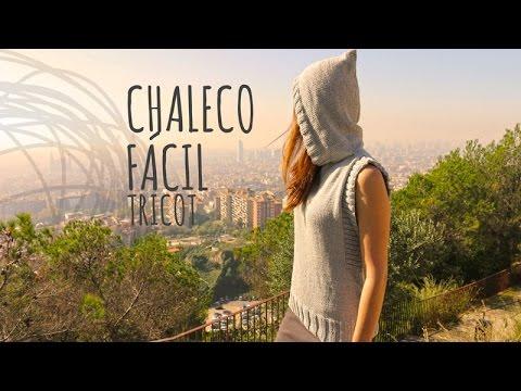Tutorial Chaleco con Capucha Fácil Tricot o Dos Agujas - YouTube