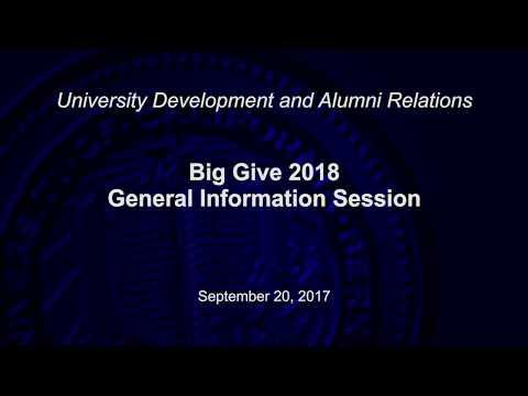 Big Give 2018 General Information Session- September 20, 2017