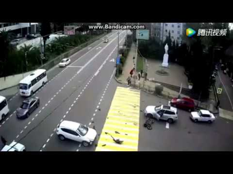 Meanwhile In China...Epic Car Crash! Man Flew To 20 Meters!
