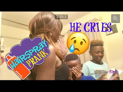Purple hair dye prank gone wrong ( he cries ) 