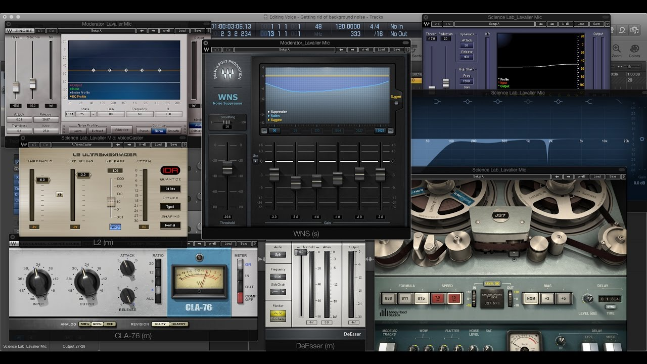 Removing background noise from voice recording   Waves WNS, Z & X- Noise  Plugin