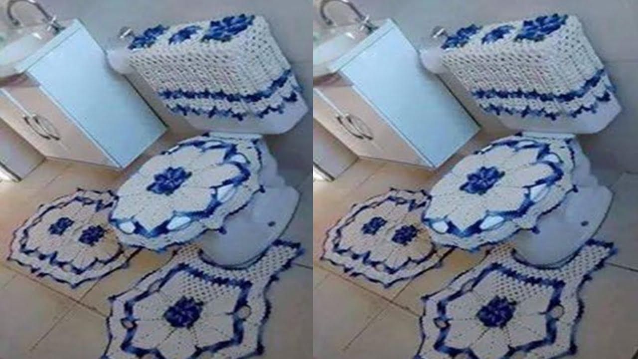 Fundas para juego de ba os tejidos a crochet youtube for Set de bano tejidos