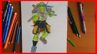 How to draw Leo from ninja turtles 2014 movie, Как нарисовать черепашек ниндзя