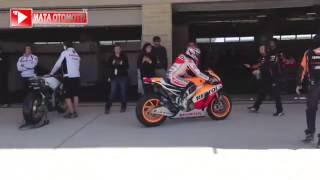 motogp marc marquez motogp in paddock area with team honda qois rofina