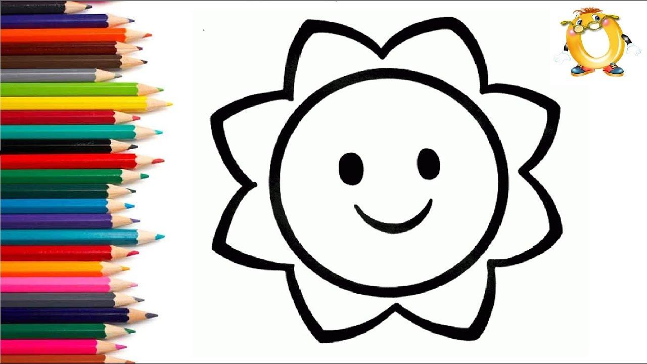 раскраска для детей солнце мультик раскраска учим цвета