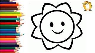 Раскраска для детей СОЛНЦЕ. Мультик - Раскраска. Учим цвета.