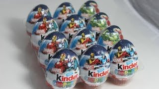 12 Surprise Eggs Kinder Surprise Marvel unboxing - 12 Киндер сюрприз Marvel