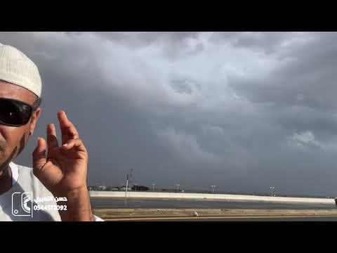 حدث تاريخي كسير الليث الغزير والدخول في عاصفة قوية من الليث الى الوسقة ١٤٤٢/٤/١٣