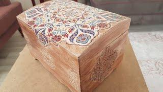 Ahşap Sandık Eskitme Stencil Pirinç Dekupaj