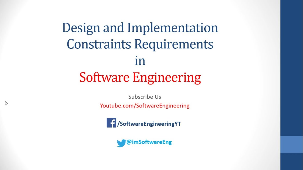Design And Implementation Constraints In Software Engineering Requirement Engineering Youtube