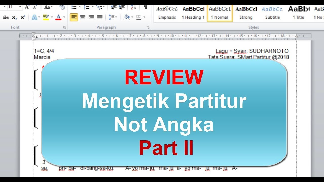 Review Mengetik Partitur Notasi Angka Part II