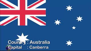 Countries flags and capitals of Australia/Oceania