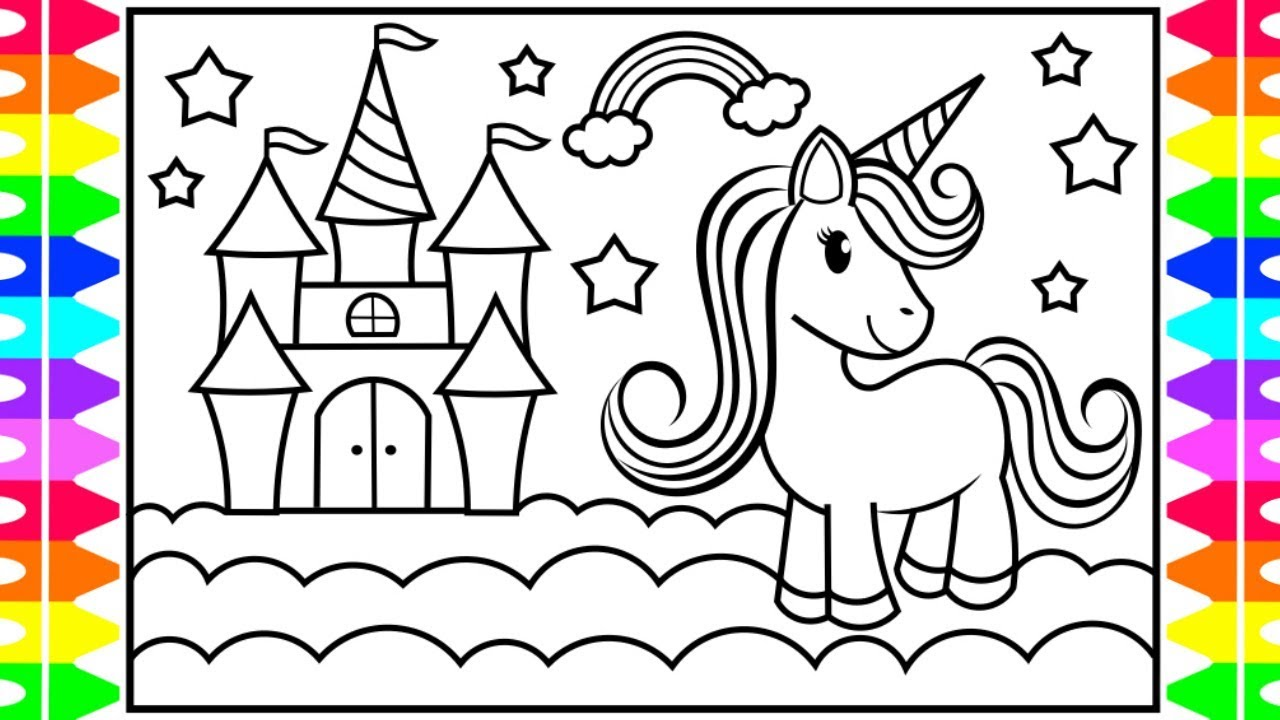 How to Draw a UNICORN CASTLE for Kids 🦄💖💜💛💚Unicorn Castle ...